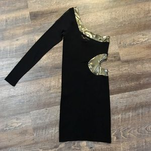 Bebe Black One Shoulder Dress LIKE NEW!